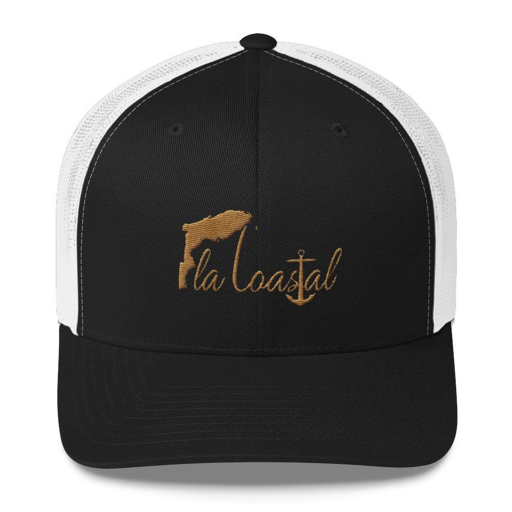 flacoastal - Fla Coastal Rustic Gold Retro Trucker Hat