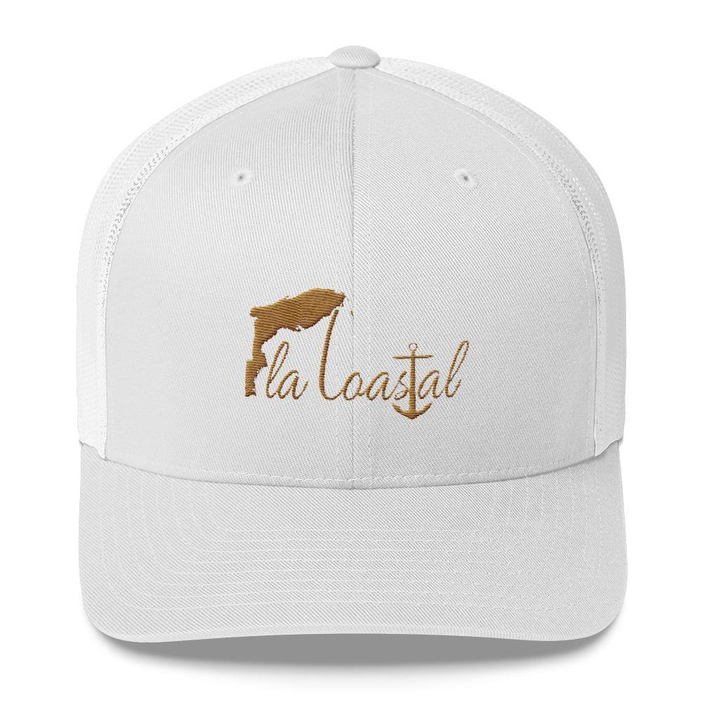 Fla Coastal Rustic Gold Retro Trucker Hat