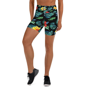 flacoastal - Tropical Hibiscus Yoga Shorts Black