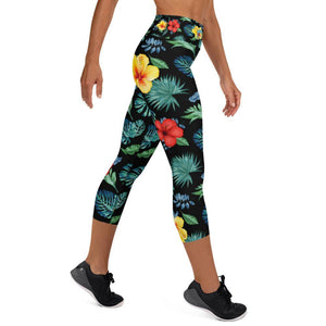 flacoastal - Tropical Hibiscus Capri Leggings Black