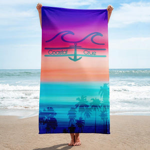 flacoastal - Coastal Crue Sunset Palms Beach Towel