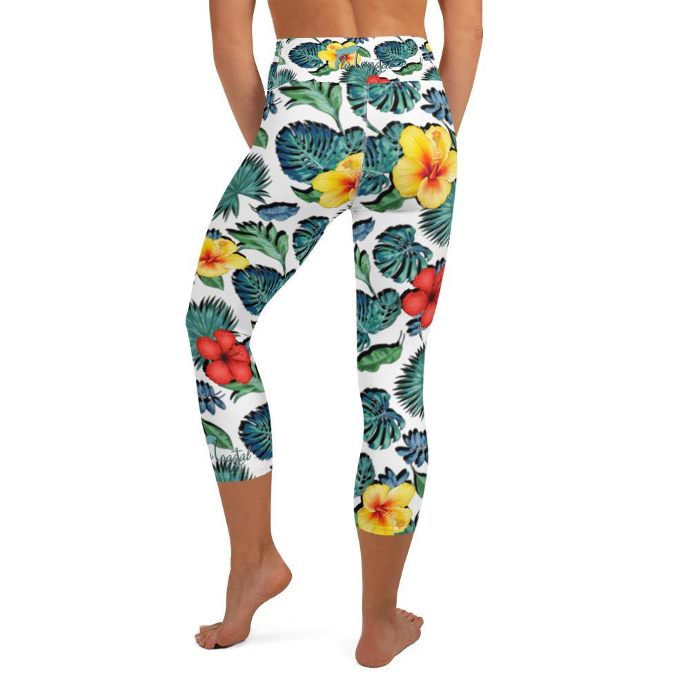 flacoastal - Tropical Hibiscus Capri Leggings