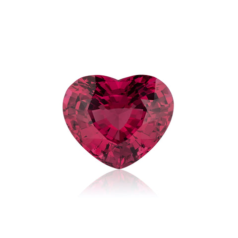 10.59-carat heart-shaped pinkish-red Mahenge spinel by Erica Courtney, The Courtney Collection.