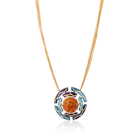"""Time"" pendant featuring a 19.54-carat fantasy-cut round citrine accented with blue and purple steel and 18-karat and 24-karat yellow gold by Zoltan David, Zoltan David."