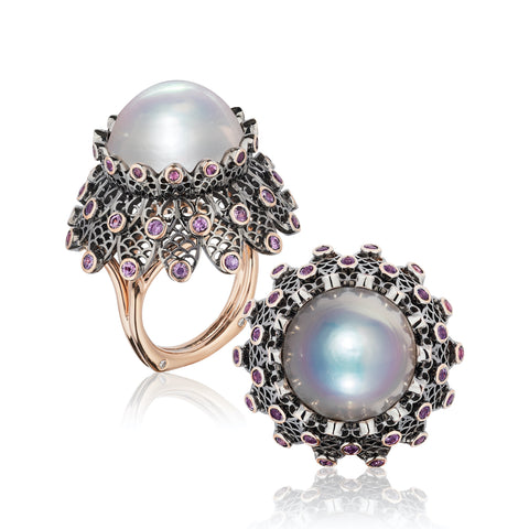 """Black Lace"" ring featuring a 16.5 mm cultured pearl accented with pink and lavender sapphires totaling 2.86 carats and diamonds totaling 0.06 carat set in 18-karat rose gold by Brenda Smith, Brenda Smith Jewelry."