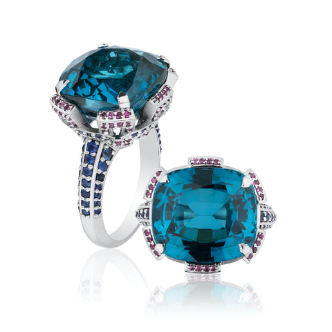 Ring featuring an 18.65-carat cushion-shaped indicolite tourmaline accented with blue and pink sapphires set in platinum by Kathrin Schoenke, KNS Platinum Solutions.