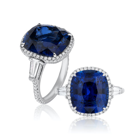"""The Vision"" ring featuring an 11.58-carat cushion-shaped blue sapphire accented with diamonds totaling 0.68 carat set in platinum by Benjamin Javaheri, Uneek Jewelry, Inc."