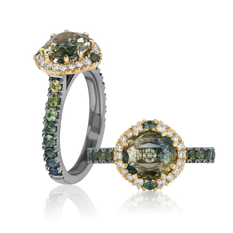 Halo ring featuring a 1.49-carat bicolored Australian sapphire accented with multicolored sapphire melee totaling 0.78  carat and diamonds totaling 0.23 carat set in 18-karat yellow and white gold by Kathleen Kerr, FTJCo (Fair Trade Jewellery Co.)