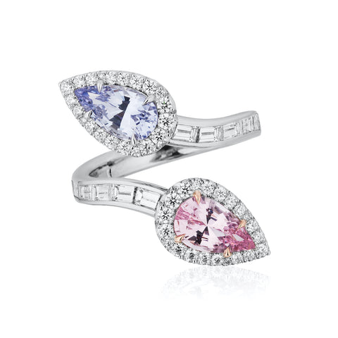 Ring featuring pink and lavender pear-shaped spinels totaling 2.49 carats accented with diamonds totaling 1.26 carats set in platinum by Nikki Swift, Nicole Mera LLC.