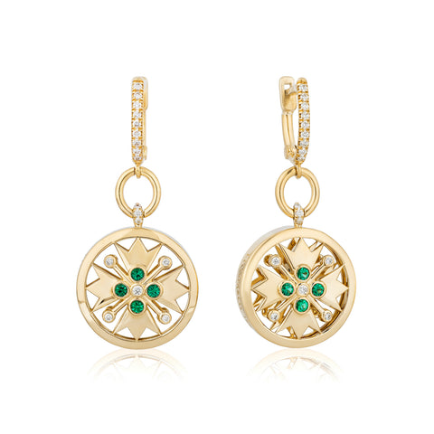 Earrings featuring round emeralds totaling 0.16 carat and diamonds totaling 0.20 carat set in 18-karat yellow gold by Timothy W Foster, T. Foster & Company.