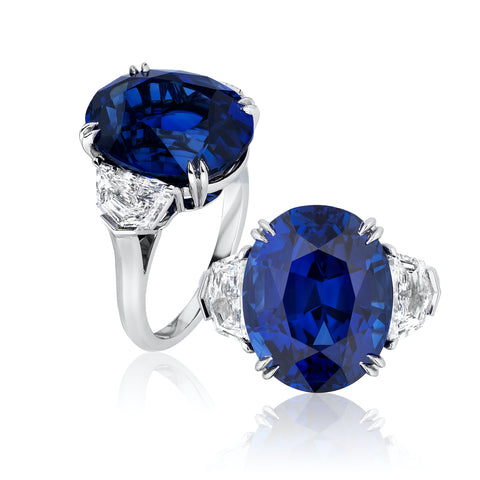 Ring featuring a 14.28-carat oval-shaped blue Sri Lankan sapphire accented with diamonds set in platinum by Joseph Ambalu, Amba Gem Corp.
