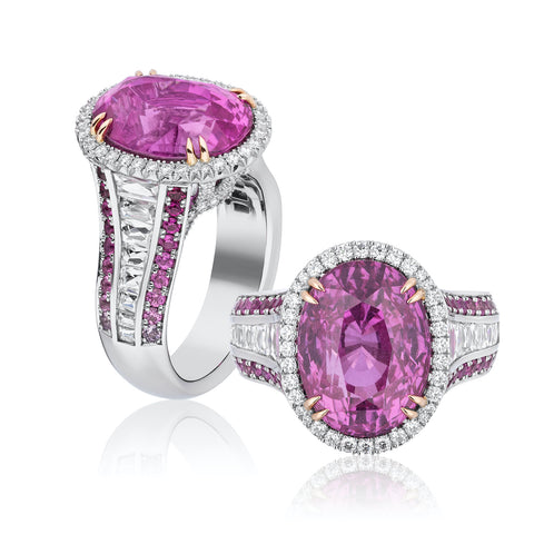 Ring featuring a 10.10-carat oval-shaped pink sapphire accented with diamonds totaling 1.36 carats, pink sapphires totaling 0.72 carat and alexandrites totaling 0.01 carat set in platinum by Niveet Nagpal, Omi Privé.