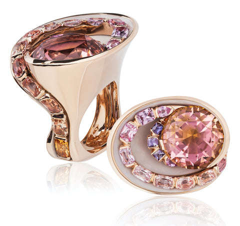 Ring featuring a 20.65-carat autumn-colored tourmaline accented with ombré sapphires totaling 5.65 carats set in 18-karat rose gold that's been E-coated to showcase the gemstones by Matthew Trent, Matthew Trent.