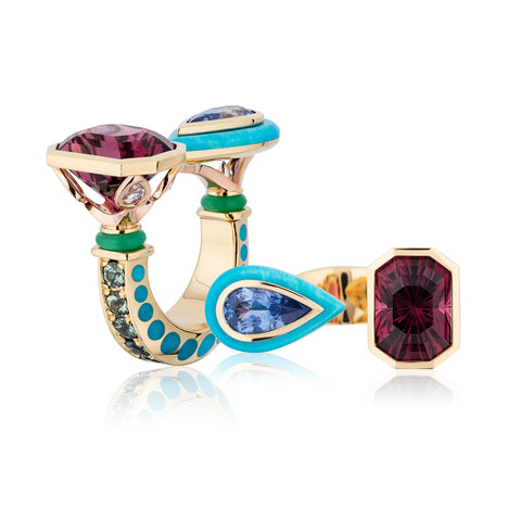 """Casatheia"" ring featuring an 8.40-carat rubellite tourmaline paired with a 2.33-carat blue sapphire accented with chrysoprase, Montana sapphires totaling 1.68 carats, diamonds totaling 0.40 carat and a pear-shaped turquoise set in platinum, 18-karat yellow gold and rose gold by Michael Tope, Raintree, LLC."