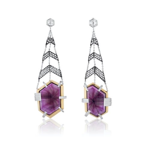 """Razzle Dazzle"" earrings featuring trapiche rubies totaling 30.94 carats and diamonds totaling 2.40 carats set in platinum and 18-karat yellow gold by Sean Smokovich, Somewhere In The Rainbow."