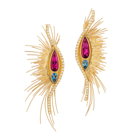 """Lady Gaga Metropolitan Gala"" earrings featuring pear-shaped rubellite tourmalines totaling 10.10 carats and aquamarines totaling 2.31 carats accented by diamonds and set in 22-karat and 18-karat yellow gold by Peter Schmid, French Designer Jeweler."
