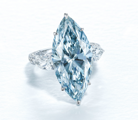 This fancy intense-blue diamond ring was the overall top lot for Christie's Jewels for 2020, selling for $15,870,815.