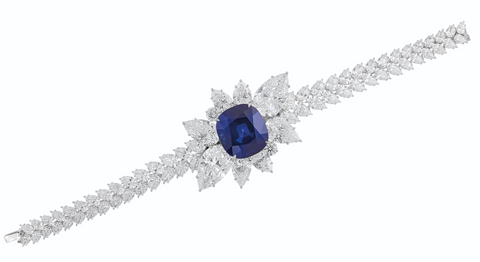 """This sapphire and diamond bracelet features a 43.10-carat Kashmir sapphire, certified as an unheated """"royal blue"""" and an approximate age of 21 million years."""