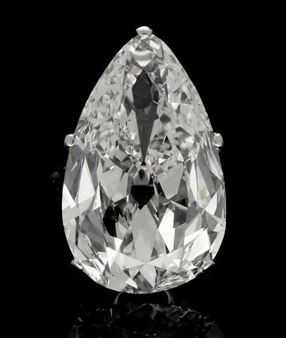 A 20.20-carat pear-shaped diamond with H color and VVS2 clarity from Jogani.
