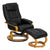 Contemporary Black Leather Recliner and Ottoman with Swiveling Maple Wood Base [BT-7615-BK-CURV-GG]