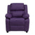 Offex Deluxe Heavily Padded Contemporary Purple Vinyl Kids Recliner with Storage Arms