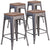"4 Pk. 24"""" High Backless Metal Counter Height Stool with Square Wood Seat"