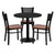 30'' Round Laminate Table Set with 3 Grid Back Metal Chairs