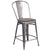 "24"""" High Counter Height Stool with Back and Wood Seat"