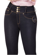 Load image into Gallery viewer, Lilly | Regular Waist Slim leg Navy Embellished Shaping Jeans