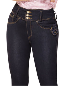 Lilly | Regular Waist Slim leg Navy Embellished Shaping Jeans