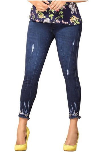 Olivia | High Skinny Frayed Ankle Shaper Jeans