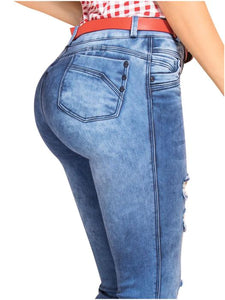 Alexis | Regular Waist Skinny Acid Washed Shaper Jeans