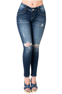 Bonnie | Mid Waist Skinny Ripped Knee Push Up Jeans