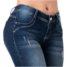 Load image into Gallery viewer, Bonnie | Mid Waist Skinny Ripped Knee Push Up Jeans