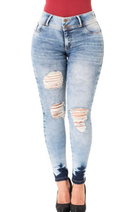 Luna | Regular Waist Skinny Acid Washed Shaping Jeans