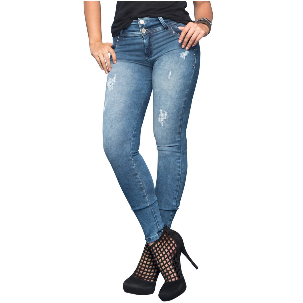 Quinn | Regular Waist Skinny Washed Shaping Jeans