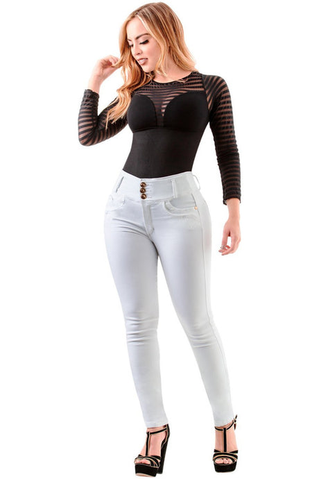Willow | High Skinny White Shaping Jeans-Crazy4Jeans Shaping Jeans
