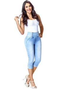 Alisah | High Light Blue Capri Tummy Control Jeans