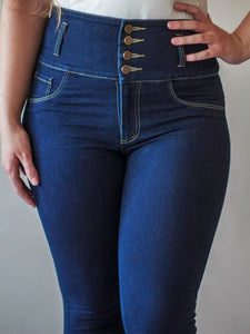 C4J Super High Waisted Blue Skinny Slimming Jeans