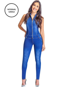 Jinelle | Blue Short Sleeve Tummy Control Denim Jumpsuit Jumpsuits