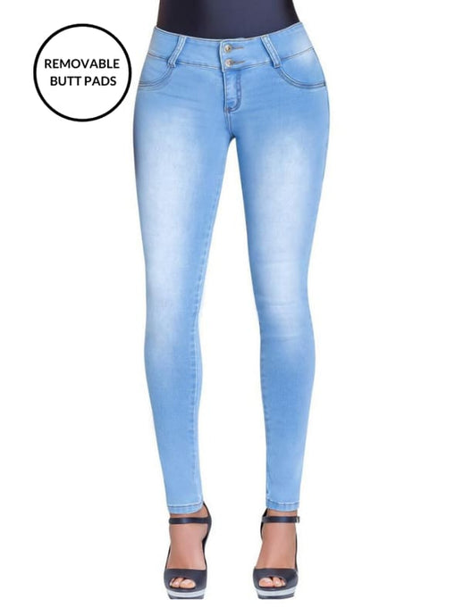 Kim | Regular Rise Skinny Light Blue Extra Enhancer Jeans