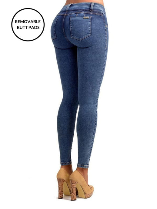 Kim | Regular Rise Skinny Vintage Blue Extra Enhancer Jeans