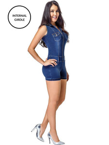Narelle | Blue Tummy Control Short Denim Jumpsuit Jumpsuits