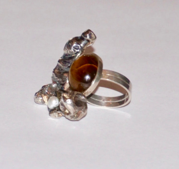 Tiger's Eye Adjustable Ring