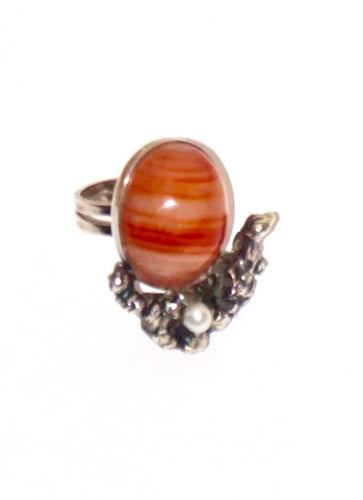 Orange Agate Adjustable Ring