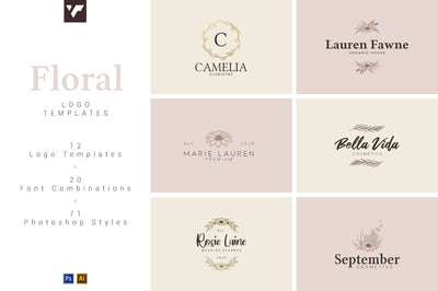 12 Floral Logo Templates - Ai & PS