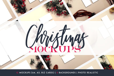 12 Christmas Mockups + Backgrounds