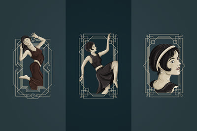 12 Art Deco illustrations By VPcreativeshop