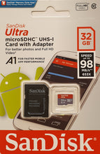 Afbeelding in Gallery-weergave laden, Micro SD-card 32GB - UHS1 & A1 - met adapter