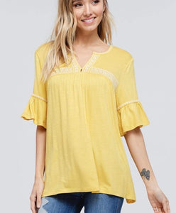 Short ruffle slv blouse *S, XL*